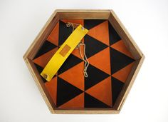 Equilateral Tray: Sienna Color Laser Cut Leather Mosaic & Walnut Wood