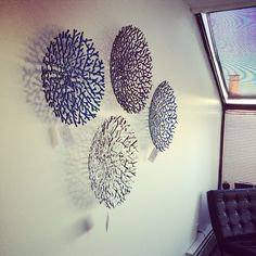 "4 20"" low profile coral bowls mounted on the wall, looks amazing!!"