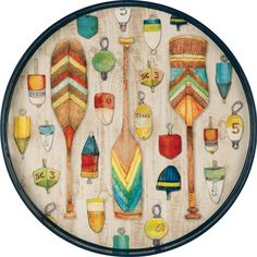"""Paddles & Buoy Serving Tray - Inspire your friends and family to get out on the water with our Paddles & Buoy Serving Tray. This 18"""" round tray has 1.5"""" sides, making it easy to carry and serve from."""
