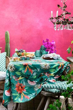 A colourful Morrocan style patio but it could equally work in a garden room Shocking Pink walls tropical print table cloth chandelier and indoor plants # Home Interior, Interior And Exterior, Indie Room, Boho Home, H&m Home, Pink Walls, Tea Light Holder, Bohemian Decor, Home Design