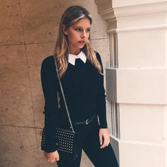 Natasha Oakley in Sandro sweater | DRESSR