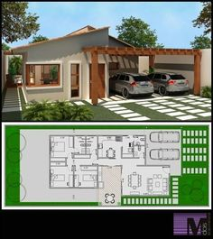 64 Ideas for garden house plans garage Dream House Plans, Modern House Plans, Small House Plans, Modern House Design, House Floor Plans, Villa Design, Building Plans, Building A House, Home Design Plans