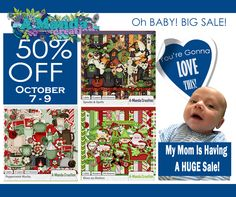 Oh Baby!  Big Sale!  My entire store at #thestudio is on sale for 50% off for a limited time.  Shop Now.  Scrap Later!  #digitalscrapbooking #Amandacreation