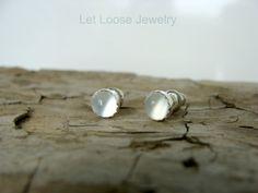 Moonstone stud earrings 5mm gemstones minimal by LetLooseJewelry