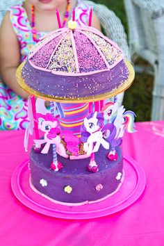 MLP My Little Pony Cake Girls Birthday... tried it, nailed it! lol. Only thing i would have changed (to my cake) would have been to add a second cake layer to the bottom tier and glue the pillars to the top cake board lol. Wonder if i can upload my pic to pinterest... hmm...