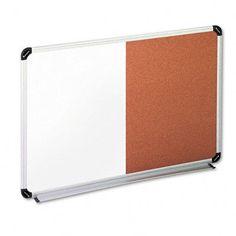 Universal Products Cork/Dry Erase Board, Melamine, 24x18, Black/Gray Aluminum/Plastic Frame