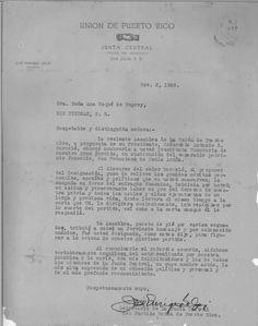 Carta, 1930 noviembre 2, San Juan, de José Enrique Gelpí, secretario general del Partido Unión de Puerto Rico, a Ana Roqué, Río Piedras.