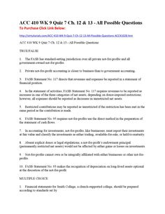 Acc 410 wk 9 quiz 7 ch 12 & 13 all possible questions