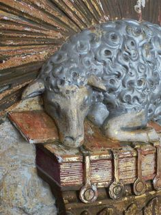 Detail of lamb on architectural fragment from a French church    Second quarter of 19th century…