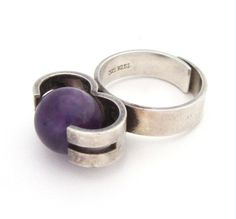 Modernist Ring | Kupittaan Kulta and Elis Kauppi (Finland). ' Rolling Amethyst'  Sterling silver and amethyst.