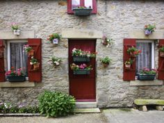 Fisherman's House Decorated with Flowers in Fishing Village of Piriac Sur Mer Photographic Print by Barbara Van Zanten Red Shutters, Fishing Villages, Sisal, Home Staging, Framed Artwork, Find Art, Pure Products, Rustic, Prints