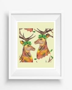 Watercolor portrait of forest deer,Magic illustration for your home,digital art print,beautiful gift