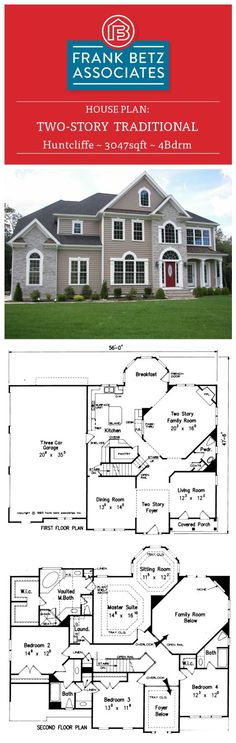 Huntcliffe - 3047sqft, 4bdrm two story, traditional, Frank Betz house plan