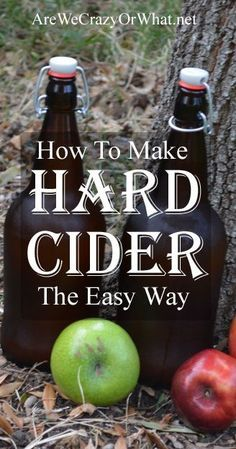 Make Hard Cider The Easy Way Step by step instructions on how to make hard apple cider at home with just a few simple ingredients and tools.Step by step instructions on how to make hard apple cider at home with just a few simple ingredients and tools. Homemade Alcohol, Homemade Liquor, Homemade Wine Recipes, Homemade Wine Making, Homemade Whiskey, Making Hard Cider, Making Apple Cider, Homemade Apple Cider, The Distillers