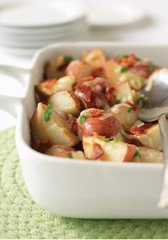 Roasted Red Potatoes with Bacon & Cheese – Ranch dressing and bacon are a pretty awesome pair. Now add potatoes to the mix, roast them to a toasty finish and you've got a surefire hit on your hands.