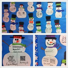 """Multiplication is """"snow"""" much fun :) My kids made these to practice multiplication strategies and for my winter bulletin board :)"""