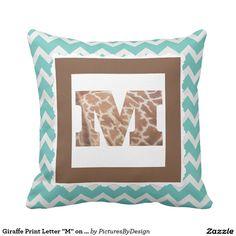 "Giraffe Print Letter ""M"" on Mint/White Chevron Throw Pillows"