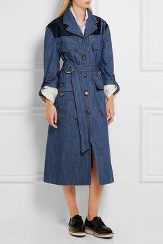 Blue denim, navy velvet Button fastenings through front 100% cotton; trim: 57%…