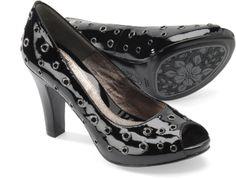 Black Patent Embellished Peep Toes