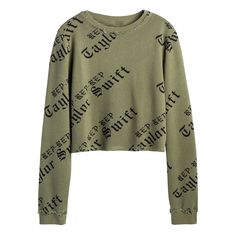 """Taylor's upcoming album """"reputation"""" hits stores Nov 10th. Pre-order Official Merchandise now at https://store.taylorswift.com/ladies-olive-crop-long-sleeve-top.html"""
