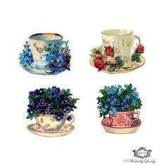 4 Vintage Tea cups with flowers Wickedly by WickedlyLovelyArt, £3.50