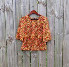 M L Medium Large Vintage Shirt 60s Back by PinkCheetahVintage