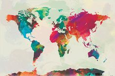 Watercolor World Map 12x18 Canvas Print by sunnychampagne on Etsy