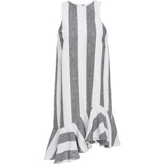 PAPER London     Striped Dress With Ruffle Bottom ($455) ❤ liked on Polyvore featuring dresses, stripe, no sleeve dress, flounce dress, vertical stripe dress, sleeveless dress and flutter-sleeve dress