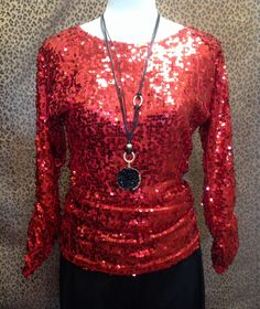 Berek - Red sequin top with shirred sides - $109