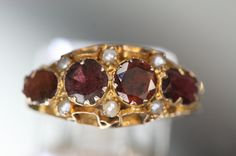Antique Garnet and Seed Pearl Ring Victorian by ClassicStyle Seed Pearl Ring, Antique Rings, Victorian Fashion, Makers Mark, Class Ring, Garnet, Heart Ring, Wedding Rings, Jewels