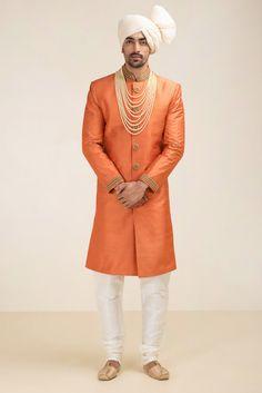 OSHNAAR rust raw silk embroidered sherwani
