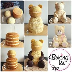 Making of how to Tutorial Teddy bear cake Bär Torte (Bake Treats Parties) Cake Decorating Tutorials, Cake Decorating Techniques, Decorating Cakes, Decorating Ideas, Teddy Bear Cakes, Teddy Bears, Cake Shapes, Sculpted Cakes, Animal Cakes