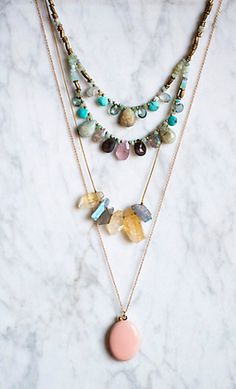 #anthrofave I love the way these necklaces are arranged. So dainty and girly, but still slightly bohemian.