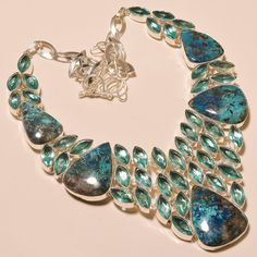 """AMAZING CHRYSOCOLLA WITH SWISS BLUE TOPAZ - 925 SILVER JEWELRY NECKLACE 18"""" #Unbranded"""