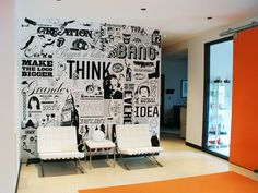 reception area - this would look awesome with comic books