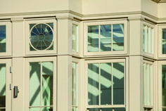 Interesting shapes in the window of this orangery