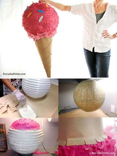 DIY Party Craft Ideas | Ice Cream Cone Pinata by DIY Ready at http://diyready.com/best-kids-party-ideas/