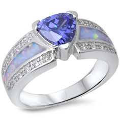 Solitaire Accent Wedding Engagement Ring 925 Sterling Silver 0.75CT Trillion Cut Tanzanite Lab White Opal Round Clear Russian Diamond CZ