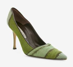 Manolo Blahnik Green And Brown Pump.
