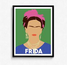 Frida Kahlo Portrait, Feminist Portrait, Wall Art Decor, Minimalist Portrait