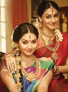 South Indian bride. Hindu bride. Silk kanchipuram sari. Temple Jewelry. Braid with jasmine flowers.
