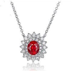 LOUISE Pendentif or Blanc Rubis et Diamant