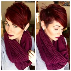 Pixie cut and red violet hair