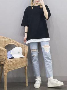 Clothing ideas on korea fashion clothing 385 Korean Girl Fashion, Korean Fashion Trends, Korean Street Fashion, Ulzzang Fashion, Korea Fashion, Asian Fashion, Daily Fashion, Boho Fashion, Boyish Outfits