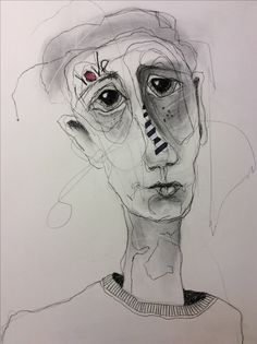 Deb Weiers - Stripe Guy (SOLD) Dotted Drawings, Art Drawings, Face Art, Art Faces, Toddler Art Projects, Eye Painting, Abstract Faces, Portrait Art, Portraits