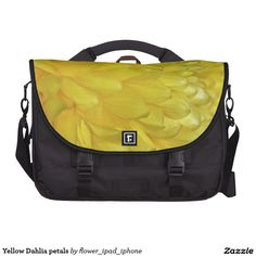 Yellow Dahlia petals laptop bag