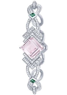 Louis Vuitton - collection Acte V - White Gold, Morganite, Emerald And Diamond Bracelet - Hologramme Jade Jewelry, High Jewelry, Jewelry Bracelets, Jewelry Watches, Jewelry Accessories, Jewelry Design, Women Jewelry, Bangles, Louis Vuitton Jewelry