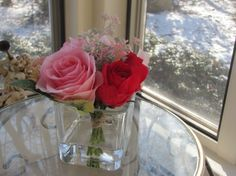 Beautiful  Silk Flower Arrangement  pink and red by FlowerIsland