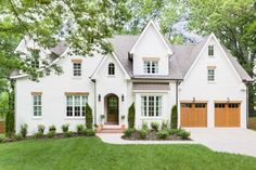 Hilltop Home Reveal: Off White exterior + Aesthetic White painted brick home + Catslide roof detail + oil rubbed bronze gutters Dream House Exterior, Exterior House Colors, Exterior Design, Cafe Exterior, Ranch Exterior, Restaurant Exterior, Bungalow Exterior, Exterior Shutters, Rustic Exterior