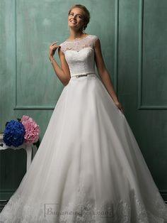 Cap Sleeves Illusion Neckline A-line Wedding Dresses